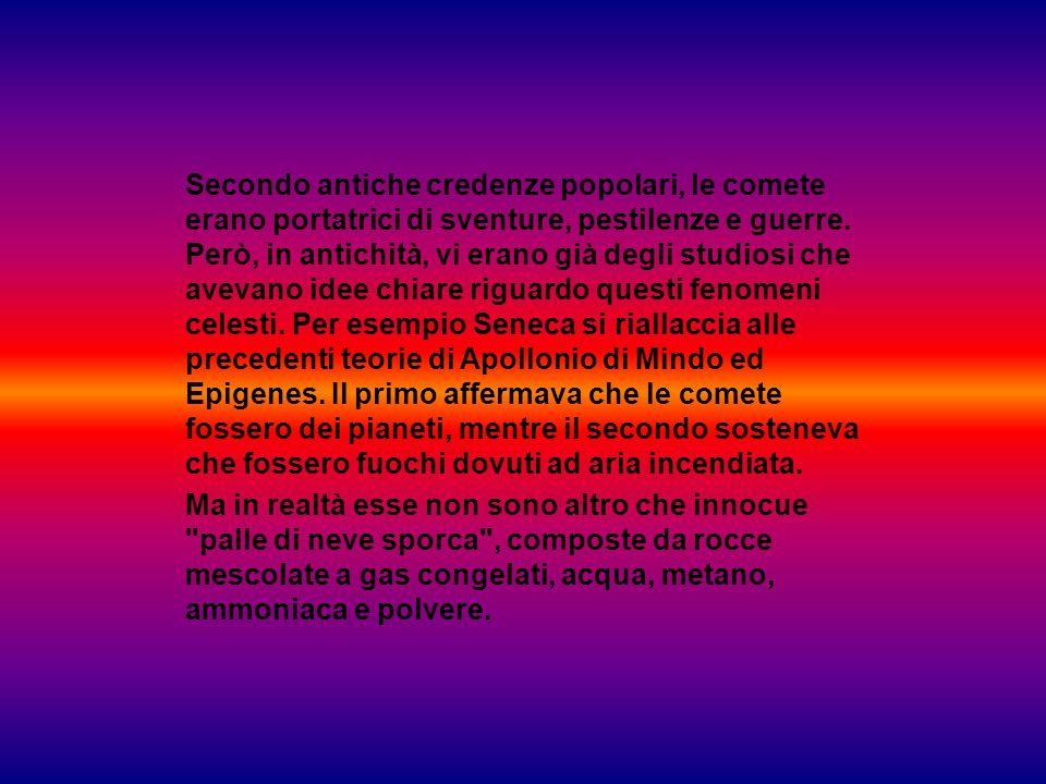Secondo antiche credenze popolari, le comete erano portatrici di sventure, pestilenze e guerre. Però, in antichità, vi erano già degli studiosi che avevano idee chiare riguardo questi fenomeni celesti. Per esempio Seneca si riallaccia alle precedenti teorie di Apollonio di Mindo ed Epigenes. Il primo affermava che le comete fossero dei pianeti, mentre il secondo sosteneva che fossero fuochi dovuti ad aria incendiata.