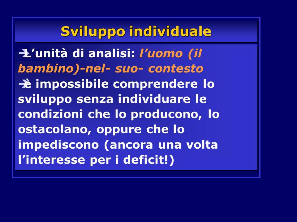 Sviluppo individuale L'unità di analisi: l'uomo (il bambino)-nel- suo- contesto.
