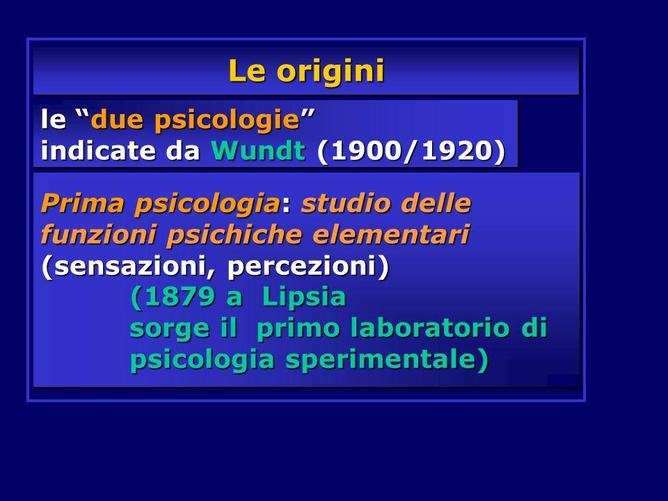 Le origini le due psicologie indicate da Wundt (1900/1920)