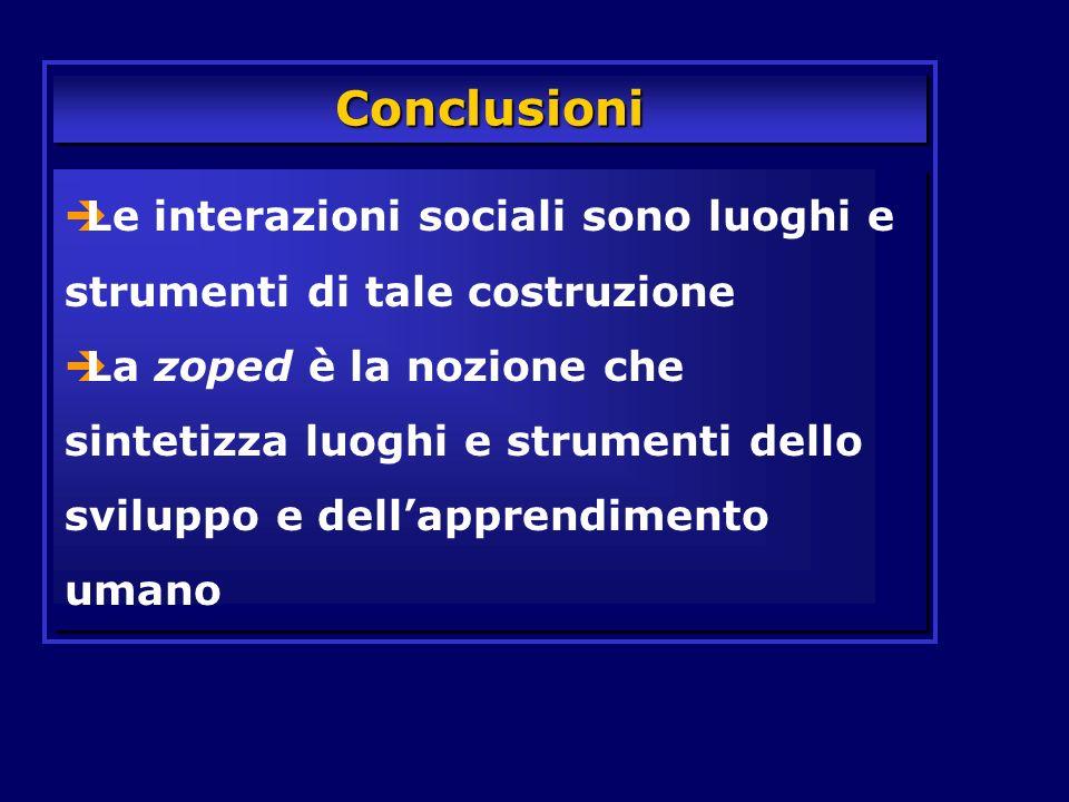 Conclusioni Le interazioni sociali sono luoghi e strumenti di tale costruzione.