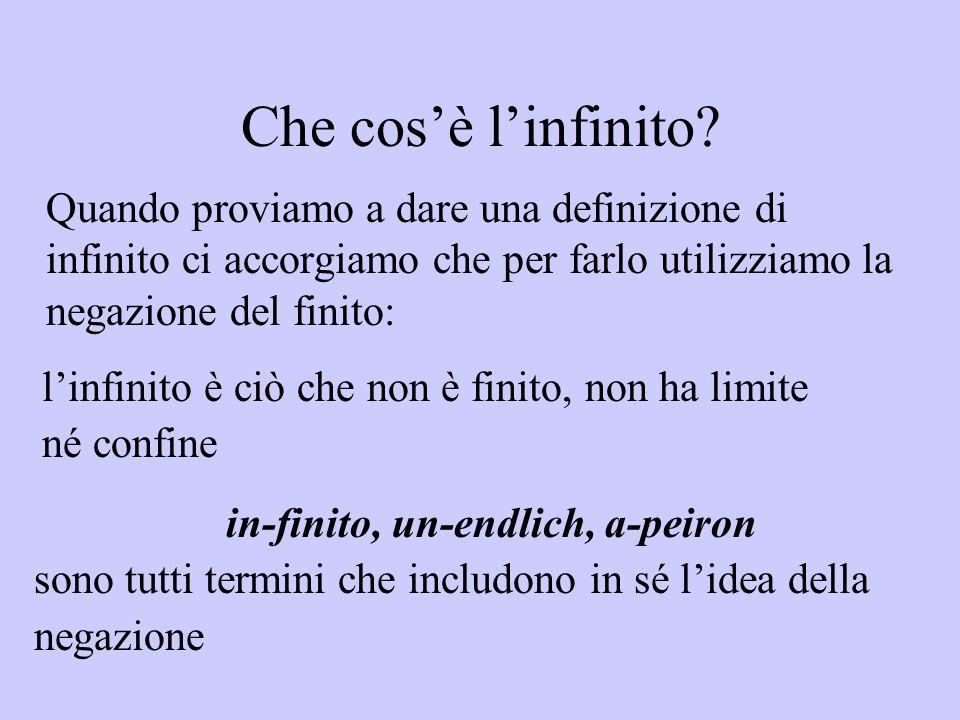 Che cos'è l'infinito Quando proviamo a dare una definizione di infinito ci accorgiamo che per farlo utilizziamo la negazione del finito:
