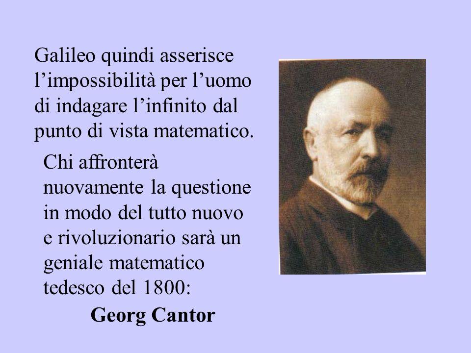Galileo quindi asserisce l'impossibilità per l'uomo di indagare l'infinito dal punto di vista matematico.
