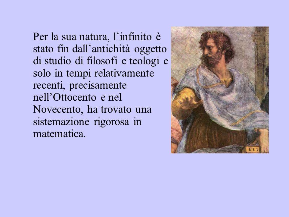 Per la sua natura, l'infinito è stato fin dall'antichità oggetto di studio di filosofi e teologi e solo in tempi relativamente recenti, precisamente nell'Ottocento e nel Novecento, ha trovato una sistemazione rigorosa in matematica.
