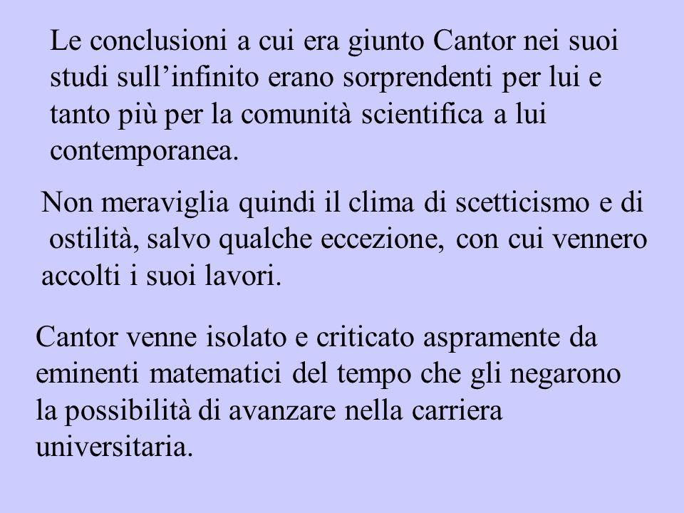 Le conclusioni a cui era giunto Cantor nei suoi studi sull'infinito erano sorprendenti per lui e tanto più per la comunità scientifica a lui contemporanea.