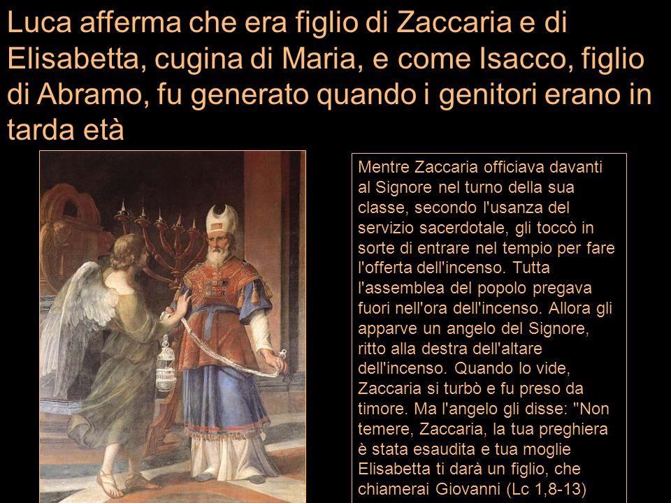 Luca afferma che era figlio di Zaccaria e di Elisabetta, cugina di Maria, e come Isacco, figlio di Abramo, fu generato quando i genitori erano in tarda età
