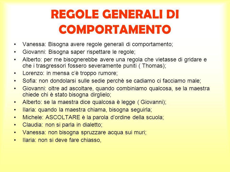 REGOLE GENERALI DI COMPORTAMENTO