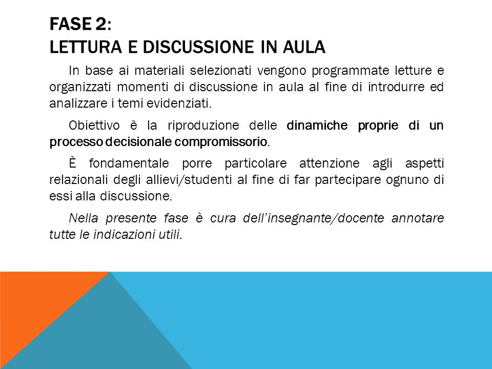 FASE 2: LETTURA E DISCUSSIONE IN AULA
