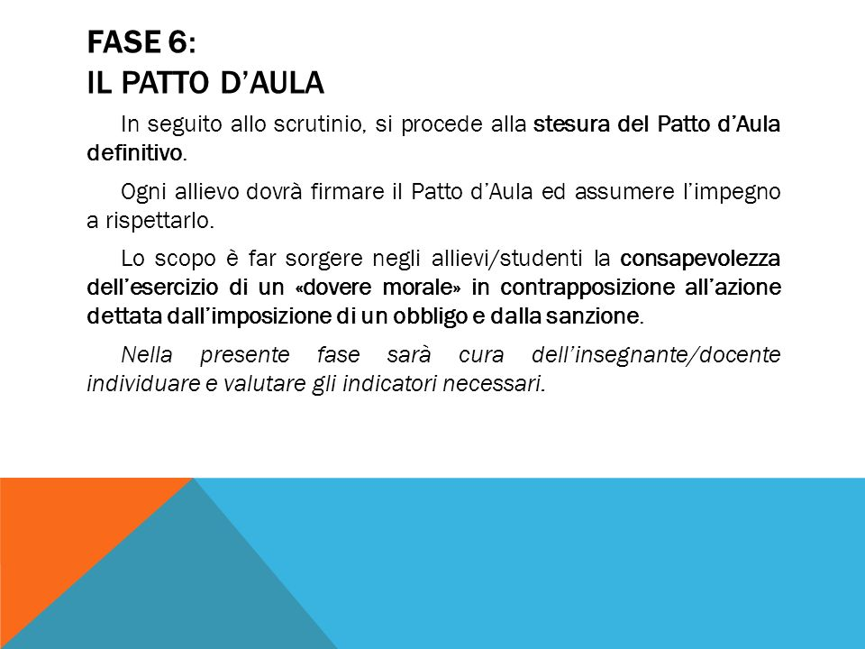 FASE 6: IL PATTO D'AULA