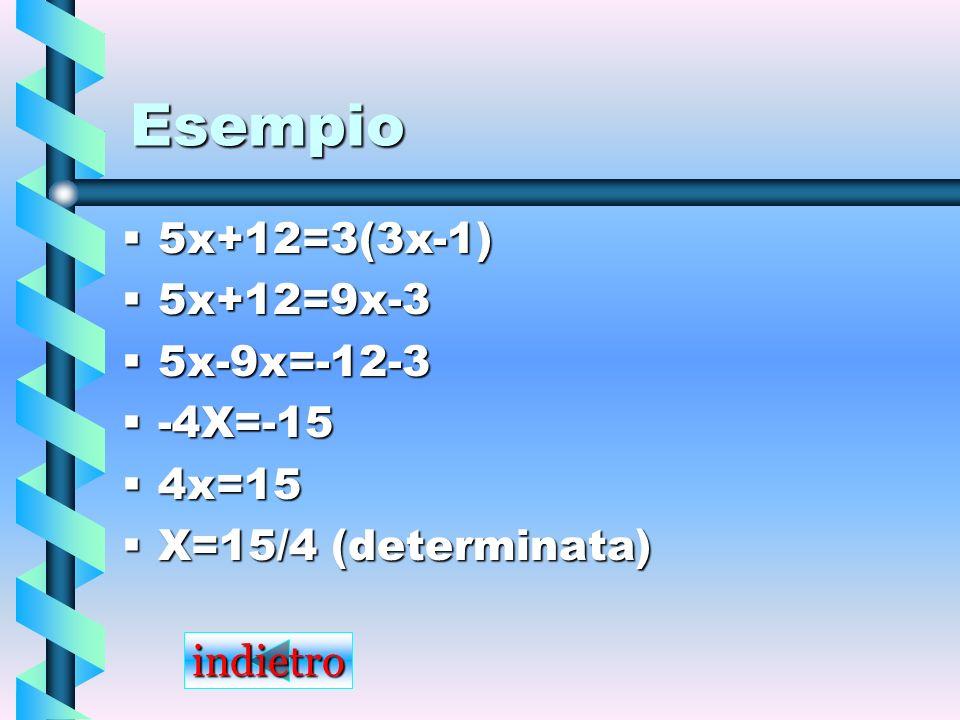 Esempio 5x+12=3(3x-1) 5x+12=9x-3 5x-9x=-12-3 -4X=-15 4x=15