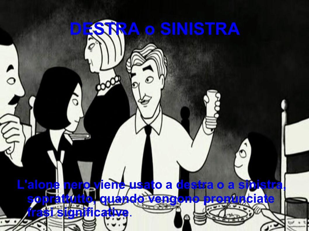 DESTRA o SINISTRA L alone nero viene usato a destra o a sinistra, soprattutto, quando vengono pronunciate frasi significative.