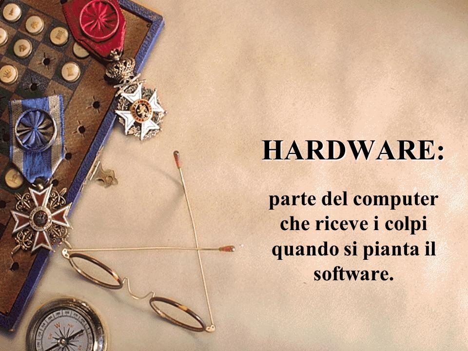parte del computer che riceve i colpi quando si pianta il software.