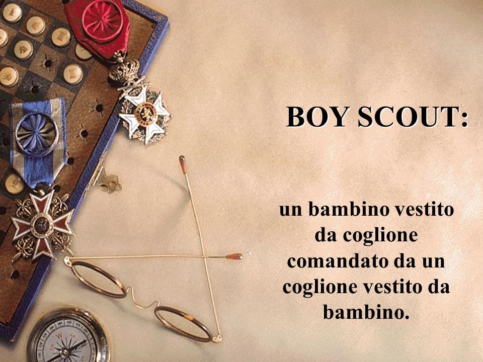 BOY SCOUT: un bambino vestito da coglione comandato da un coglione vestito da bambino.