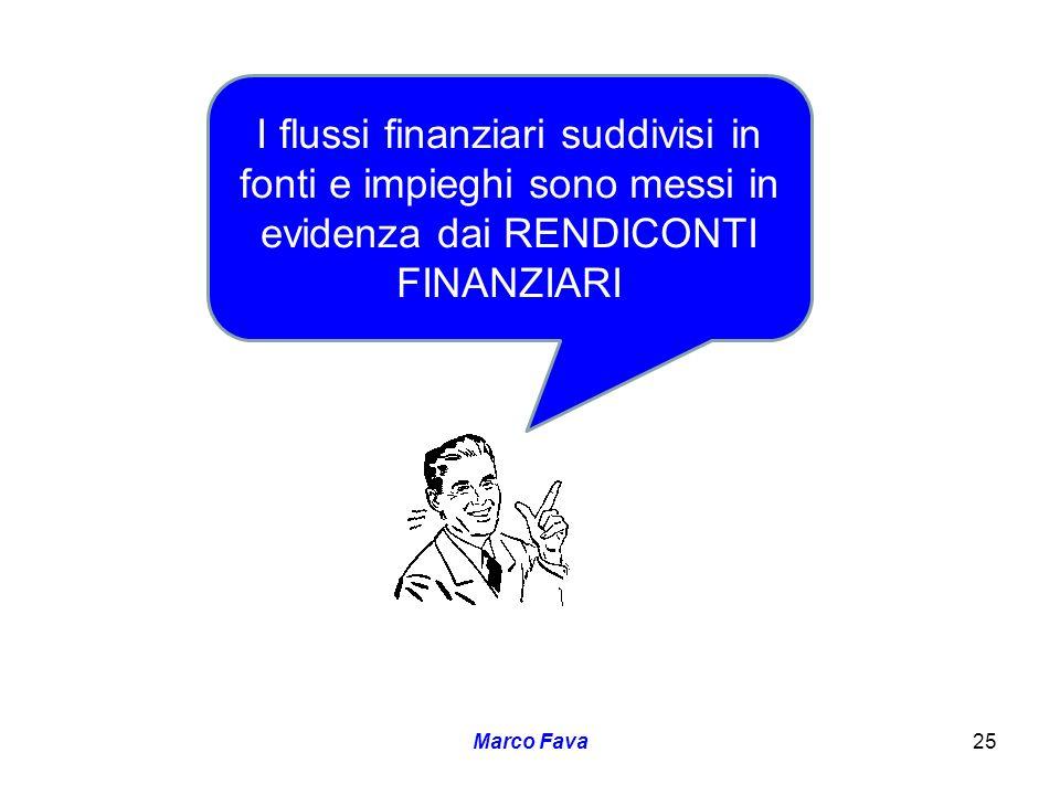 I flussi finanziari suddivisi in fonti e impieghi sono messi in evidenza dai RENDICONTI FINANZIARI