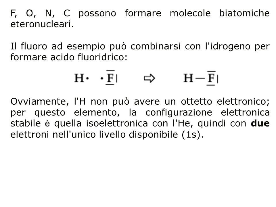 F, O, N, C possono formare molecole biatomiche eteronucleari.