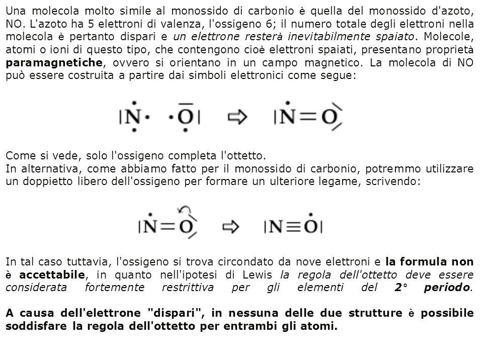 Una molecola molto simile al monossido di carbonio è quella del monossido d azoto, NO. L azoto ha 5 elettroni di valenza, l ossigeno 6; il numero totale degli elettroni nella molecola è pertanto dispari e un elettrone resterà inevitabilmente spaiato. Molecole, atomi o ioni di questo tipo, che contengono cioè elettroni spaiati, presentano proprietà paramagnetiche, ovvero si orientano in un campo magnetico. La molecola di NO può essere costruita a partire dai simboli elettronici come segue: