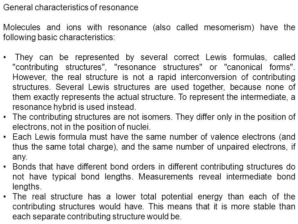 General characteristics of resonance