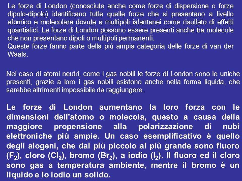 Le forze di London (conosciute anche come forze di dispersione o forze dipolo-dipolo) identificano tutte quelle forze che si presentano a livello atomico e molecolare dovute a multipoli istantanei come risultato di effetti quantistici. Le forze di London possono essere presenti anche tra molecole che non presentano dipoli o multipoli permanenti.