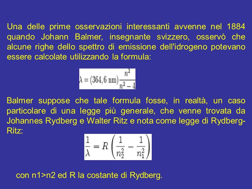 Una delle prime osservazioni interessanti avvenne nel 1884 quando Johann Balmer, insegnante svizzero, osservò che alcune righe dello spettro di emissione dell idrogeno potevano essere calcolate utilizzando la formula: