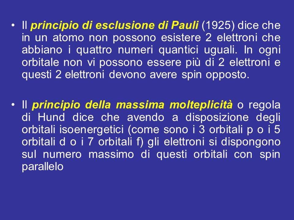 Il principio di esclusione di Pauli (1925) dice che in un atomo non possono esistere 2 elettroni che abbiano i quattro numeri quantici uguali. In ogni orbitale non vi possono essere più di 2 elettroni e questi 2 elettroni devono avere spin opposto.