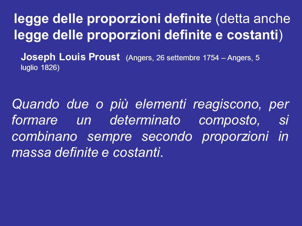 legge delle proporzioni definite (detta anche legge delle proporzioni definite e costanti)