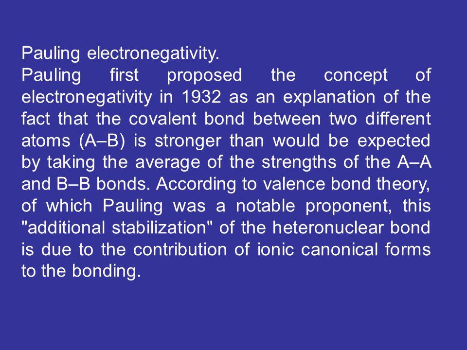 Pauling electronegativity.