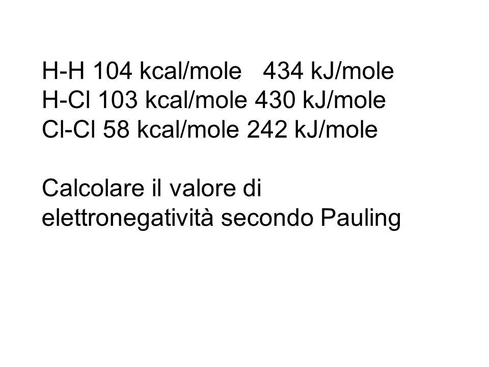 H-H 104 kcal/mole 434 kJ/mole H-Cl 103 kcal/mole 430 kJ/mole. Cl-Cl 58 kcal/mole 242 kJ/mole.