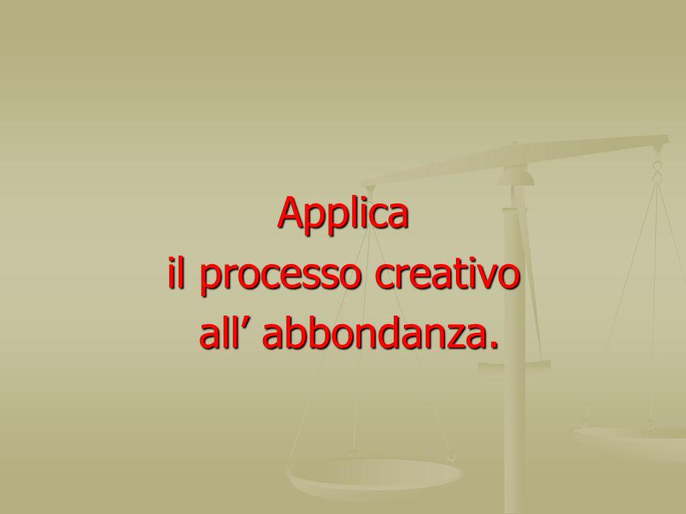Applica il processo creativo all' abbondanza.