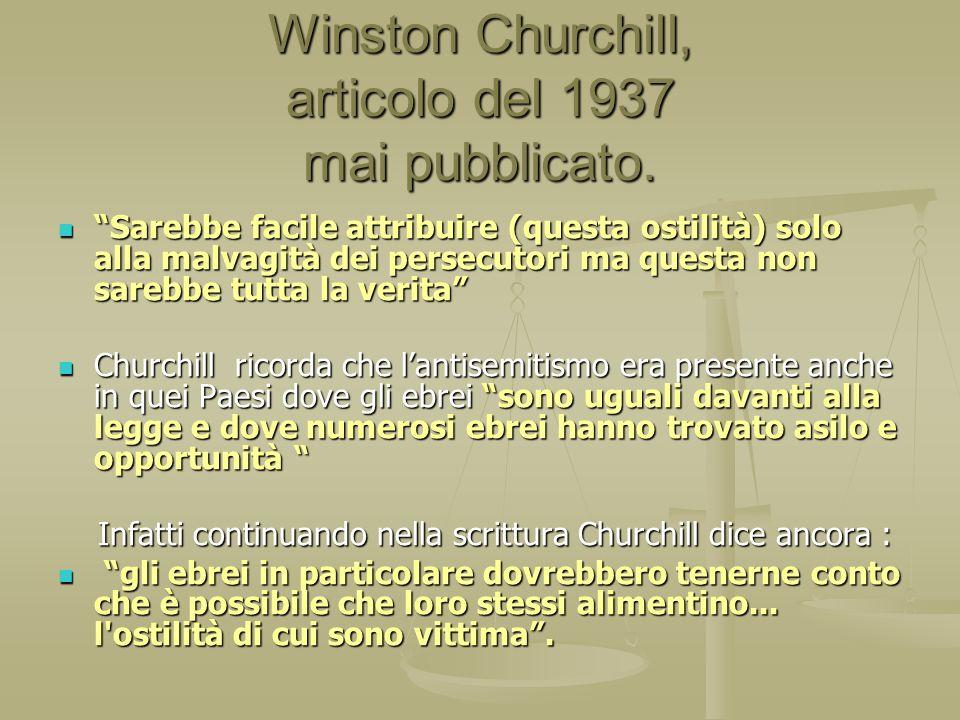 Winston Churchill, articolo del 1937 mai pubblicato.