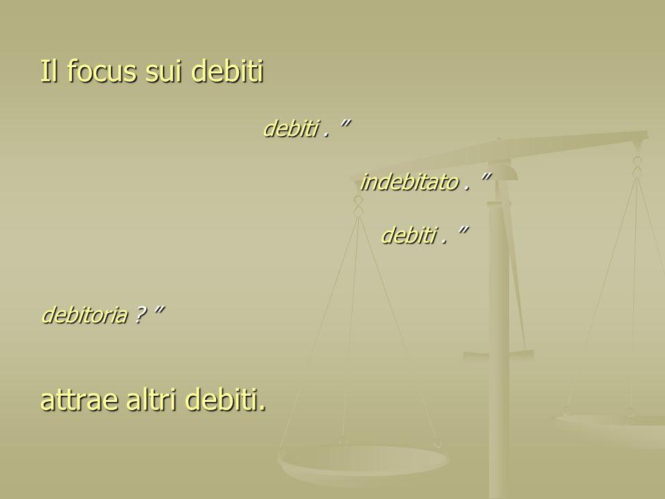 Il focus sui debiti attrae altri debiti. debiti . indebitato .