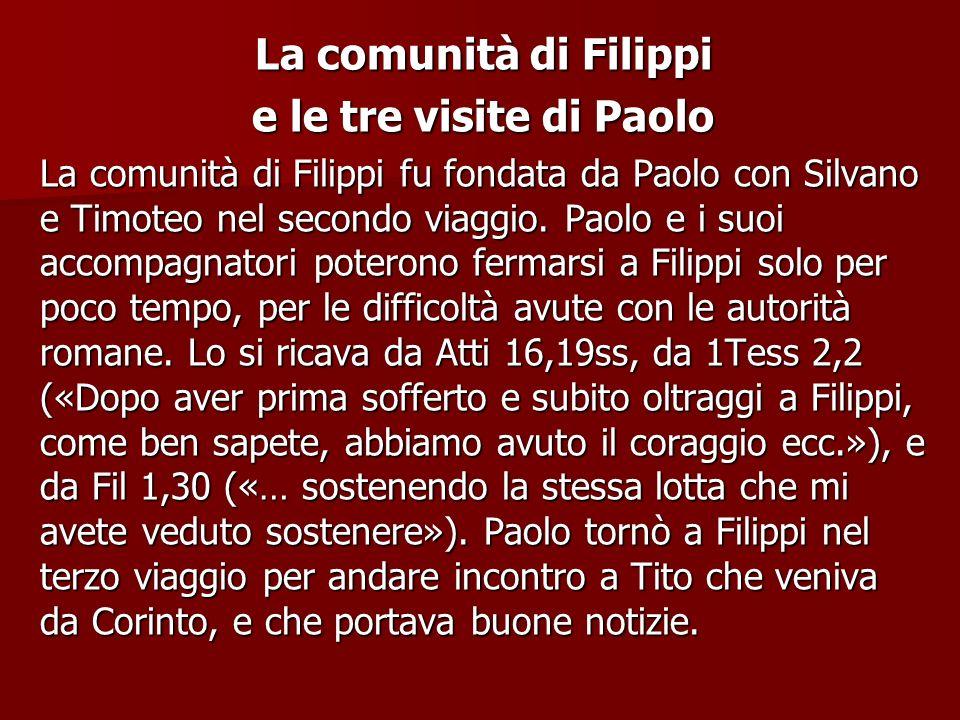 La comunità di Filippi e le tre visite di Paolo