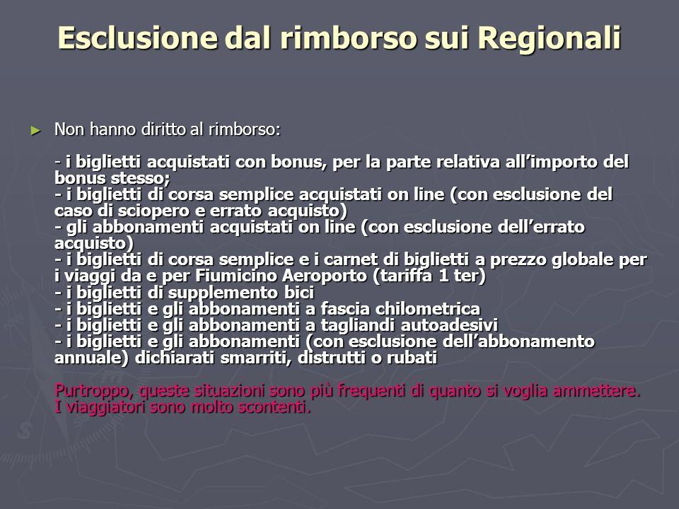 Esclusione dal rimborso sui Regionali