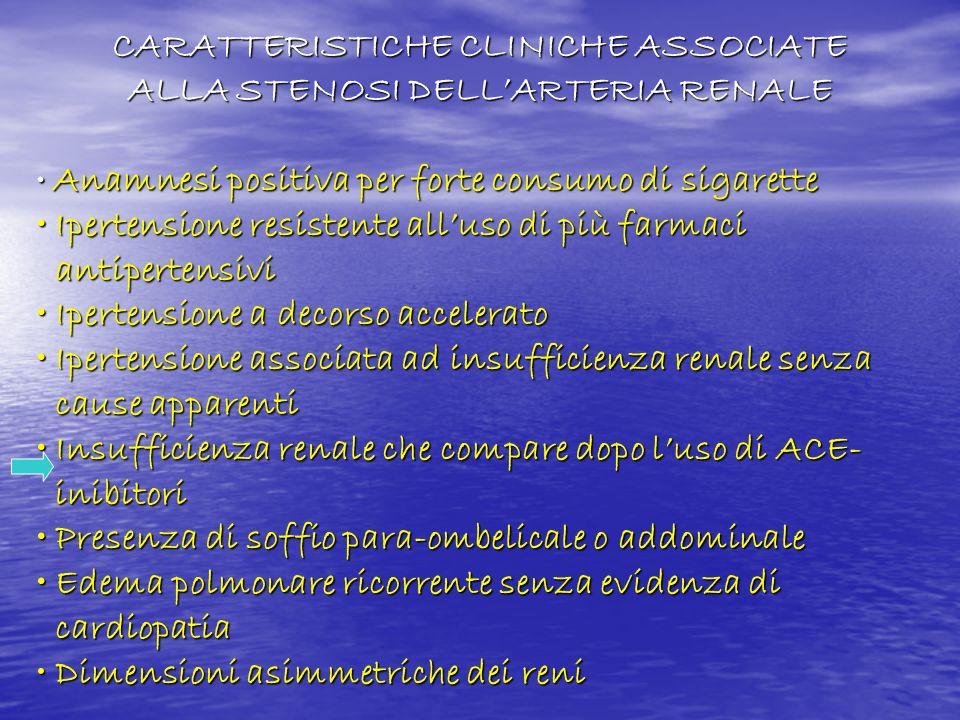 CARATTERISTICHE CLINICHE ASSOCIATE ALLA STENOSI DELL'ARTERIA RENALE