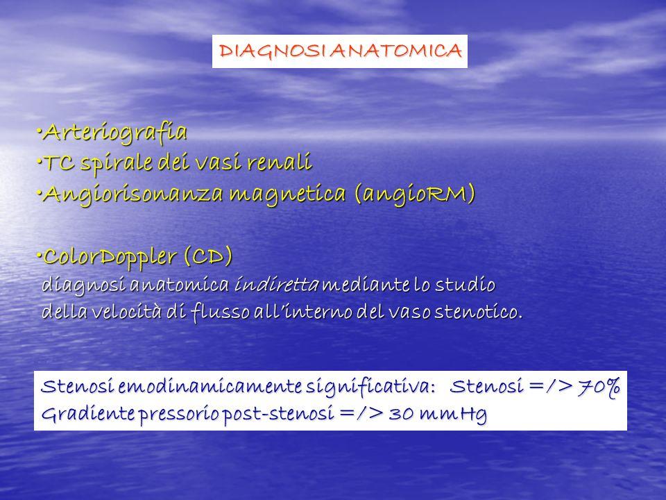 TC spirale dei vasi renali Angiorisonanza magnetica (angioRM)