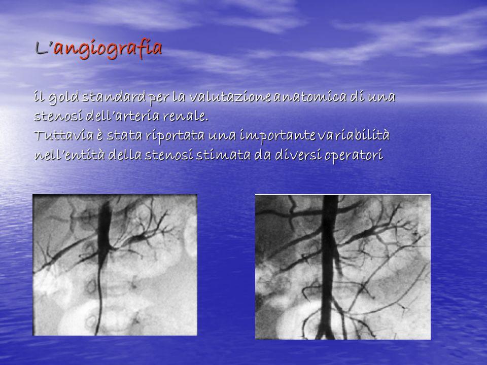 L'angiografia il gold standard per la valutazione anatomica di una stenosi dell'arteria renale.