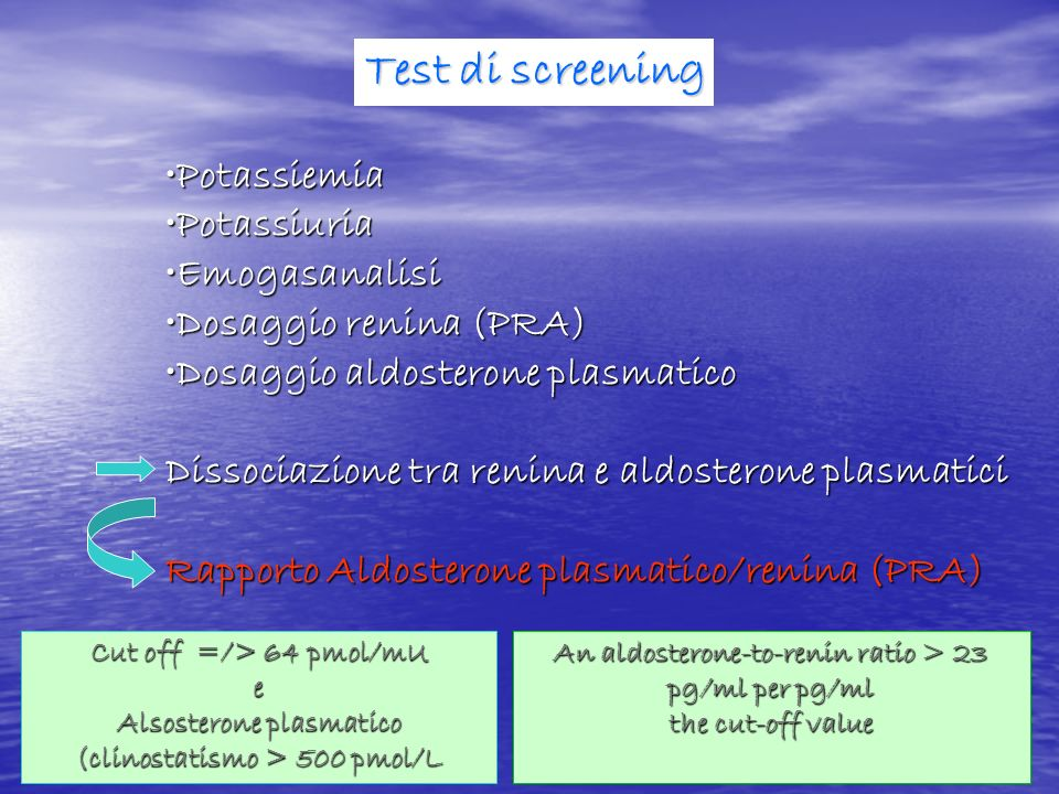 Test di screening Potassiemia Potassiuria Emogasanalisi