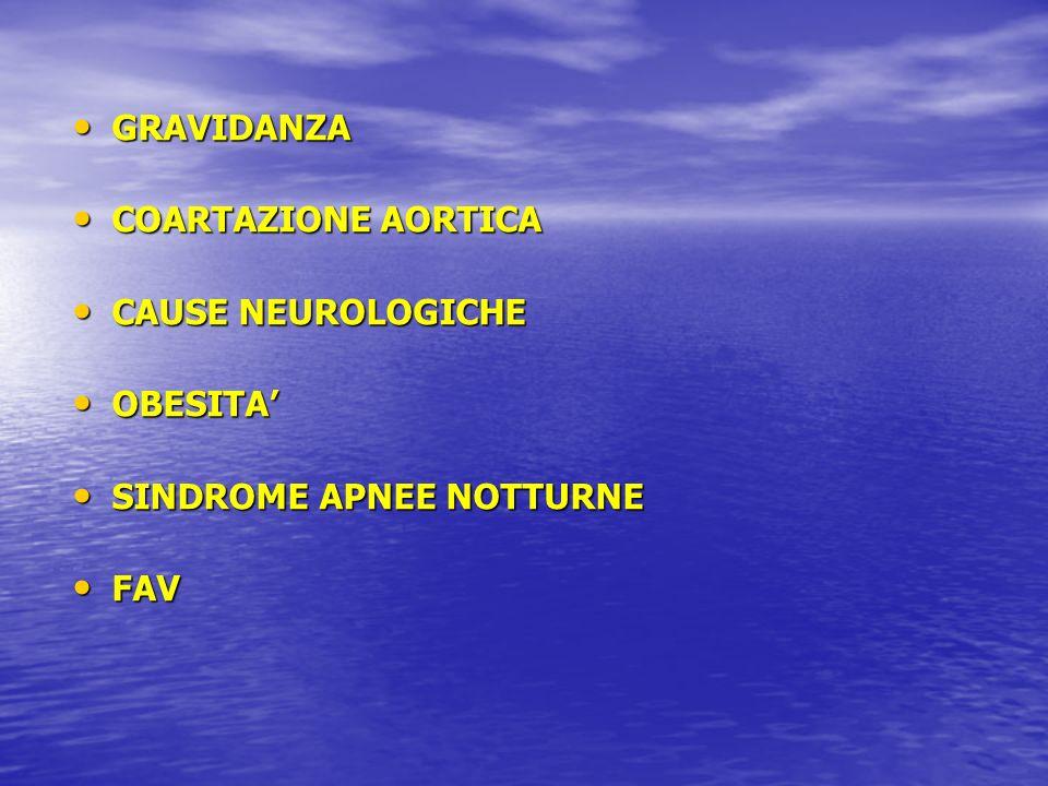 GRAVIDANZA COARTAZIONE AORTICA CAUSE NEUROLOGICHE OBESITA' SINDROME APNEE NOTTURNE FAV