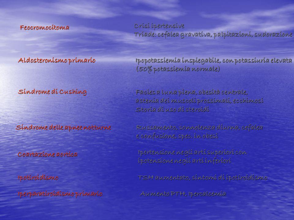 FeocromocitomaCrisi ipertensive. Triade: cefalea gravativa, palpitazioni, sudorazione. Aldosteronismo primario.