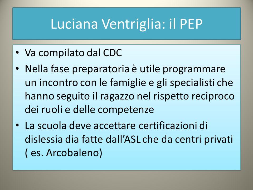 Luciana Ventriglia: il PEP