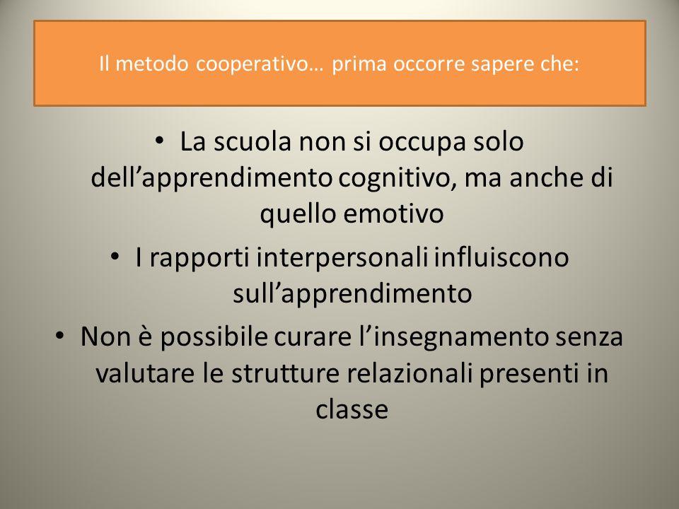 Il metodo cooperativo… prima occorre sapere che: