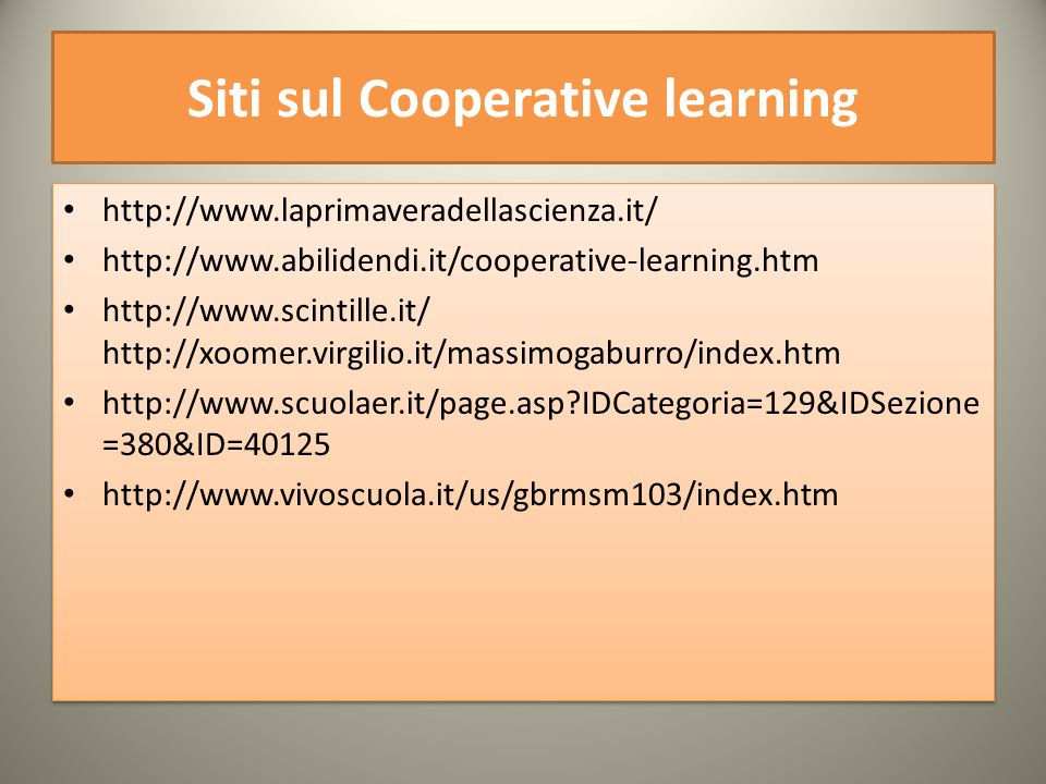 Siti sul Cooperative learning