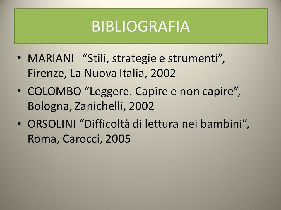BIBLIOGRAFIA MARIANI Stili, strategie e strumenti , Firenze, La Nuova Italia, 2002.
