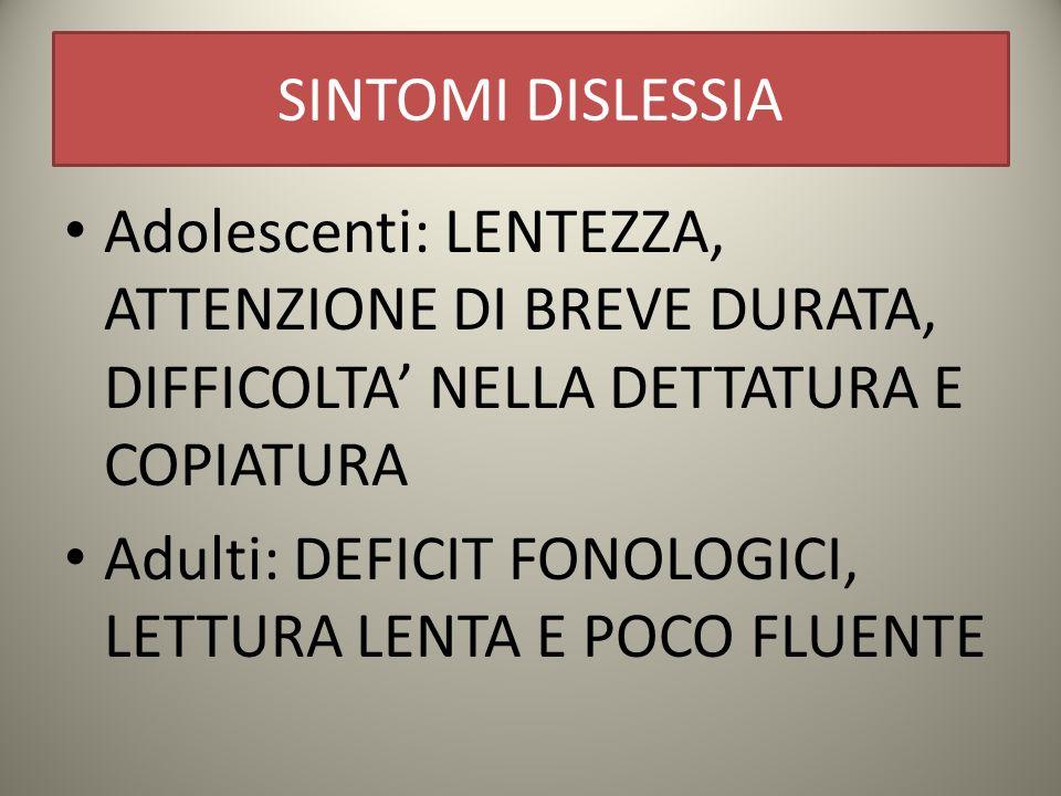 SINTOMI DISLESSIA Adolescenti: LENTEZZA, ATTENZIONE DI BREVE DURATA, DIFFICOLTA' NELLA DETTATURA E COPIATURA.