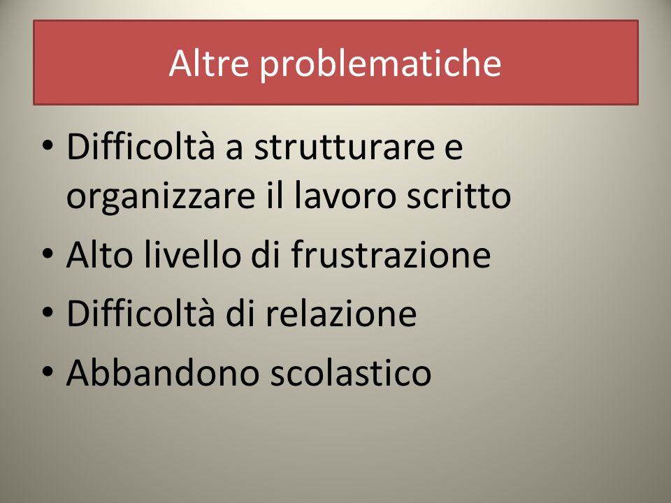 Altre problematiche Difficoltà a strutturare e organizzare il lavoro scritto. Alto livello di frustrazione.