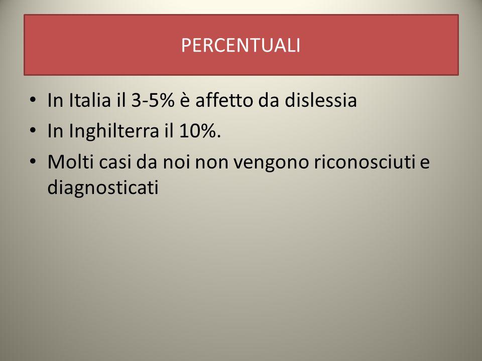 PERCENTUALI In Italia il 3-5% è affetto da dislessia.