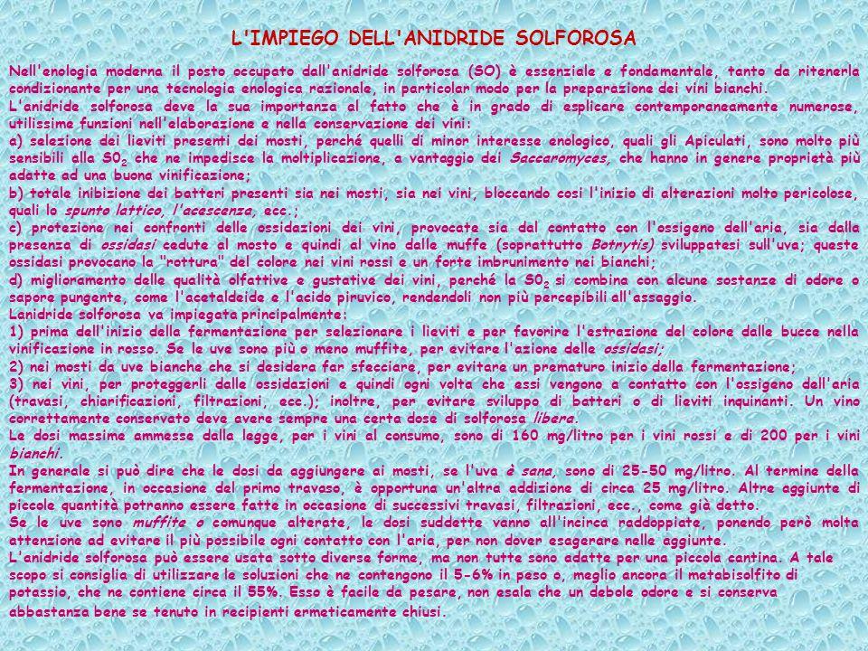 L IMPIEGO DELL ANIDRIDE SOLFOROSA