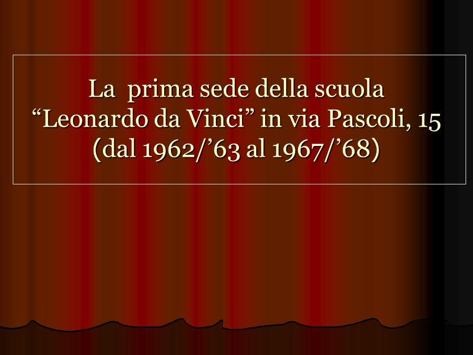 La prima sede della scuola Leonardo da Vinci in via Pascoli, 15 (dal 1962/'63 al 1967/'68)