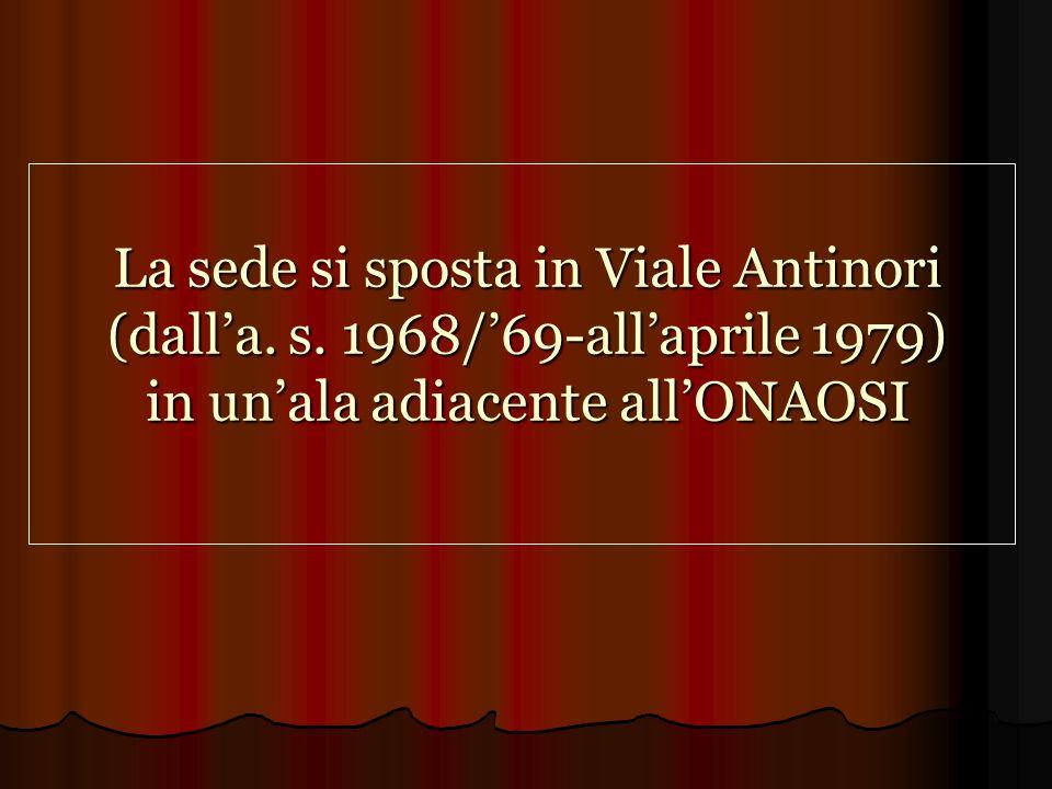 La sede si sposta in Viale Antinori (dall'a. s