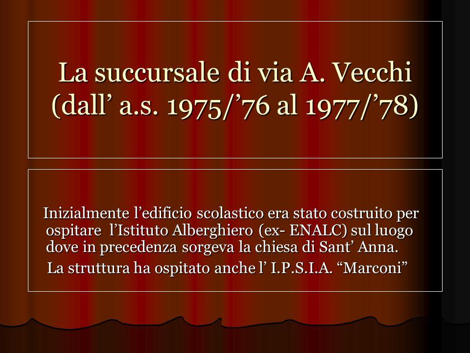La succursale di via A. Vecchi (dall' a.s. 1975/'76 al 1977/'78)