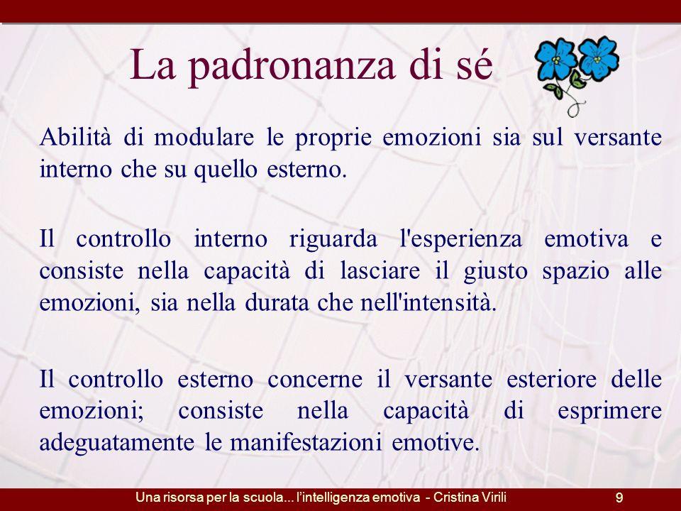 Una risorsa per la scuola... l'intelligenza emotiva - Cristina Virili