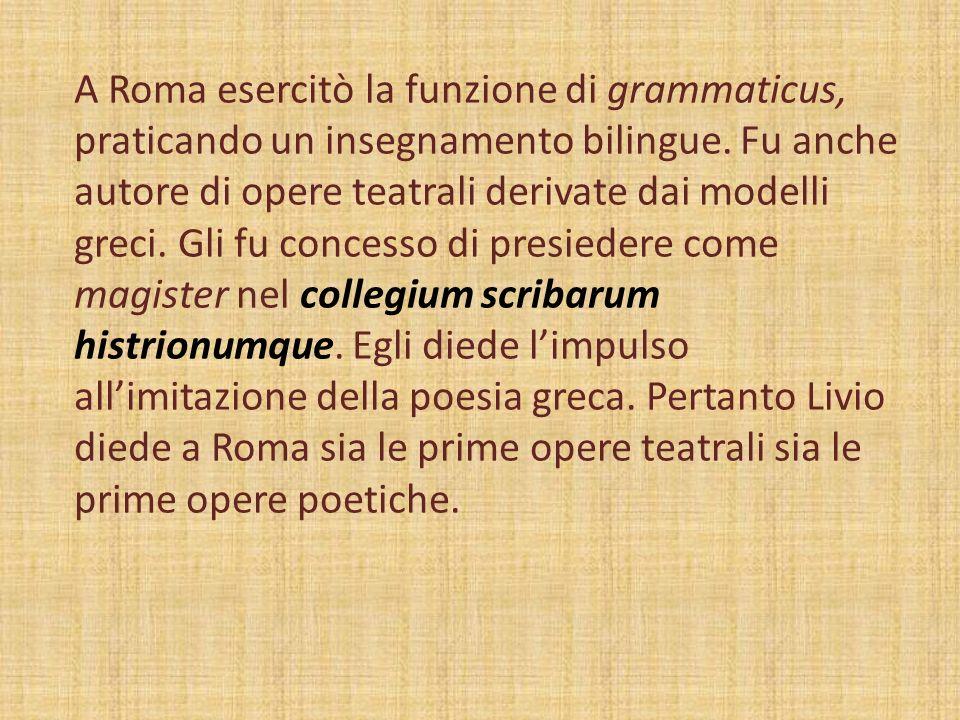 A Roma esercitò la funzione di grammaticus, praticando un insegnamento bilingue.